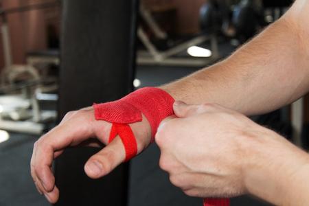 wrist wraps in the gym Stock Photo
