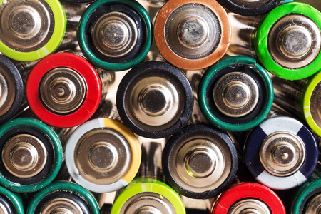 old mercury: Battery color closeup next to each other