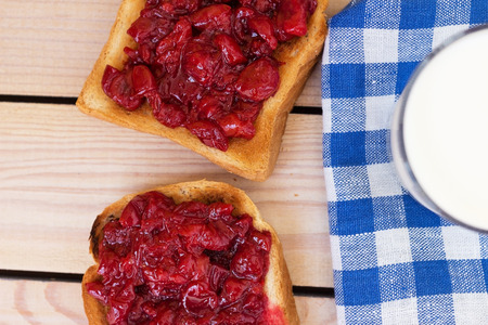 toast with cherry jam and milk