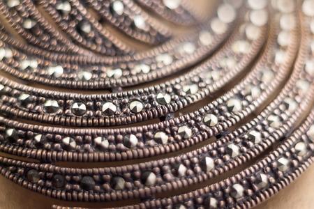 brooch: silver brooch with precious stones Stock Photo