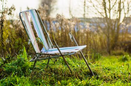 Autumn location, autumn decor, old chairs.