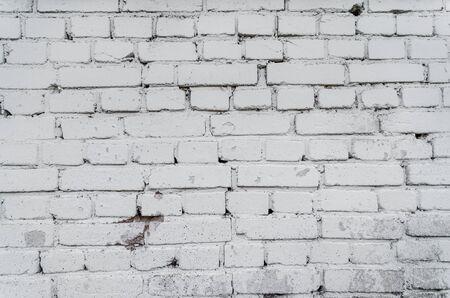 Old White Brick Wall Textured Background. Vintage Brickwall Square Whitewashed Texture. Grunge White Washed Brickwork Surface. Design Element.