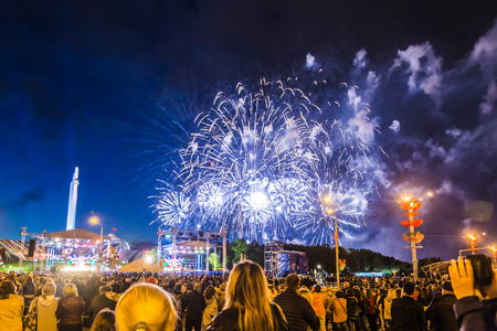 MINSK, BELARUS - MAY 4, 2017: Colorful fireworks during the celebration of the Independence Day of Belarus