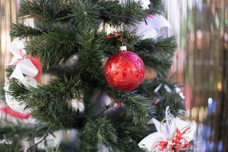 Christmas trees are sold in the store in the New Year period Stock Photo