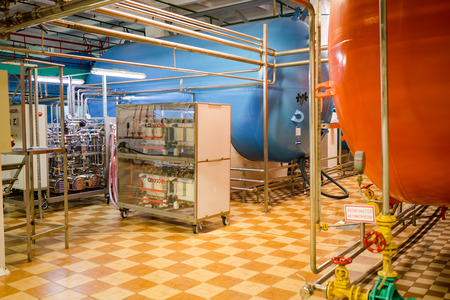 MINSK, BELARUS - DECEMBER 18, 2017: PRODUCTION SPACES ON MANUFACTURE OF CHAMPAGNE WINE AT MINSK PLANT OF GAMING WINE