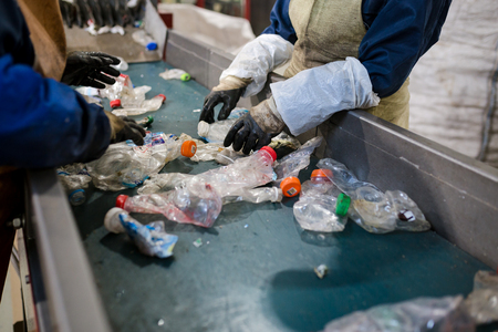 production line for the processing of plastic waste in the factory 写真素材