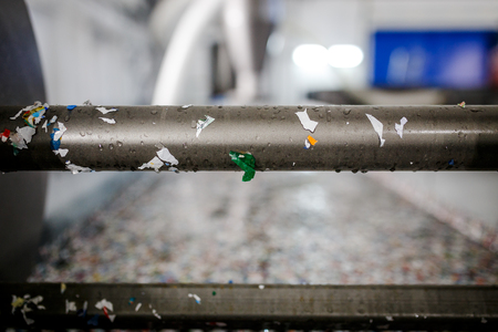 recycled plastic bottles and waste at the plant Stock Photo