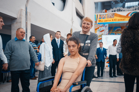 MINSK, BELARUS - MAY 1, 2017: children with Down syndrome dance and have fun at the ball
