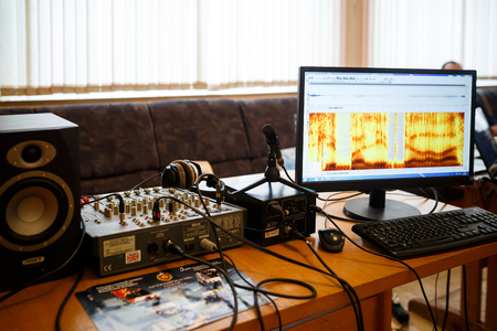 MINSK, BELARUS - MAY 1, 2017: equipment for acoustic voice analysis, forensic examination