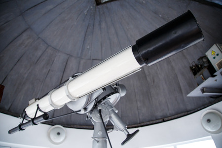 big telescope under dome of astronomic observatory