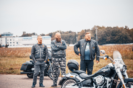 MINSK, BELARUS - 1 OKTOBER, 2018: group of bikers riding American motorbikes Harley Davidson during the motorcycle rally
