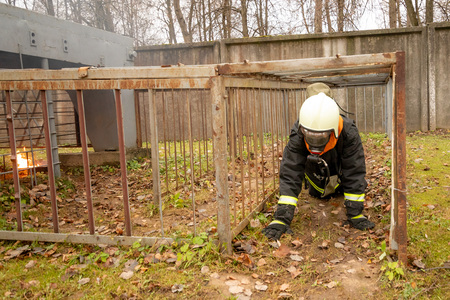 Firefighter young woman, The Employees Annual training Fire fighting