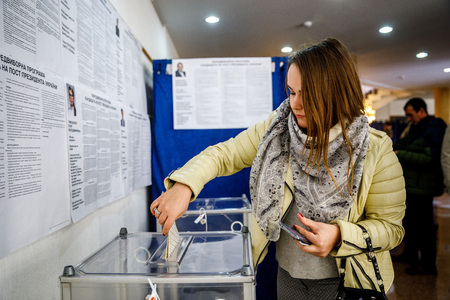 MINSK, BELARUS - 1 APRIL, 2019: Voting in the elections of the President of Ukraine at one of the polling stations in Minsk Editorial