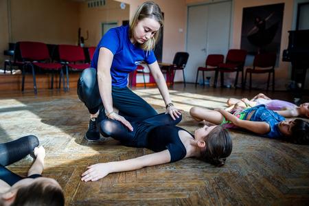 MINSK, BELARUS - 1 APRIL, 2019: children do ballet in ballet school
