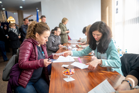 MINSK, BELARUS - 21 APRIL, 2019: Voting in the elections of the President of Ukraine at one of the polling stations in Minsk