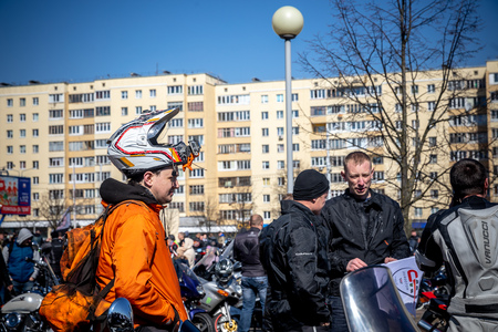 MINSK, BELARUS - 1 MARTH, 2019: group of bikers riding motorbikes during the motorcycle rally