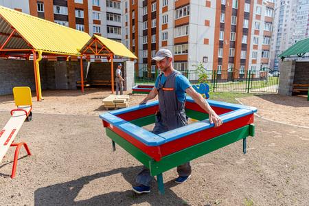 MINSK, BELARUS - 1 JUNE, 2019: construction of kindergarten 報道画像