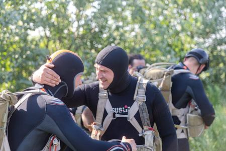 MINSK, BELARUS - 1 JUNE, 2019: rescue divers on combat mission