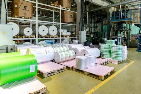 MINSK, BELARUS - 1 JUNE, 2019: factory for the production of biodegradable eco-friendly shopping bags