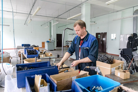 MINSK, BELARUS - 1 JUNE, 2019: wheelchair factory