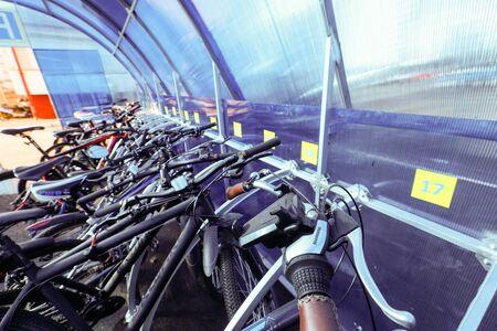 MINSK, BELARUS - 1 MARCH, 2020: bicycle storage garage, bike parking