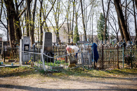 MINSK, BELARUS - 1 MAY, 2019: abandoned Orthodox cemetery in sunny spring weather Editorial