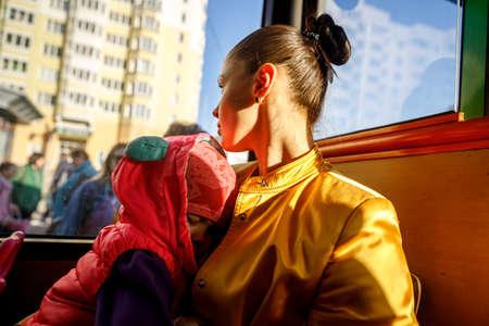 MINSK, BELARUS - 1 MAY, 2019: children ride the school bus