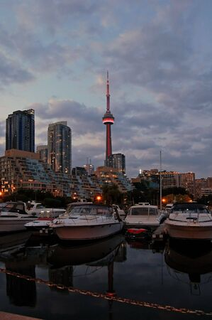 Toronto water front in the night Imagens