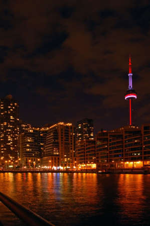 Toronto water front in the night Stock Photo