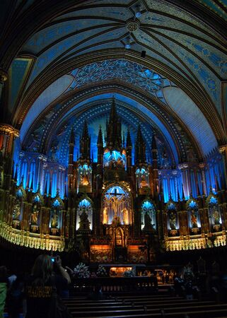 Interier of Notre-Dame Basilica in Montreal, Quebec.