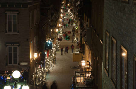 street lamp: Street of Quebec Old city in winter time