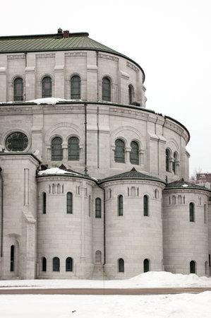 brich: White brich wall of basilica Sainte-Anne_de_Beaupre Editorial