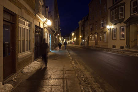 Street of Quebec Old city in winter time