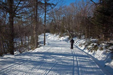 cross country: esqu� de fondo estilo libre pista de Mont Saint-Anne, Quebec, Canad� Foto de archivo