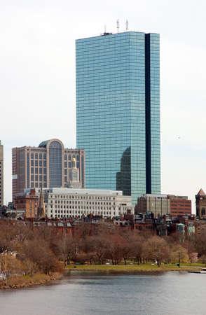 Boston Back Bay Skyline John Hancock Tower, viewed from Cambridge, Massachusetts photo