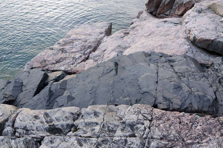 An intrusive black dike on shore Superior Lake