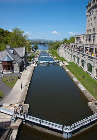 sluice: View along Rideau Canal to Ottaw river in sunny day Editorial