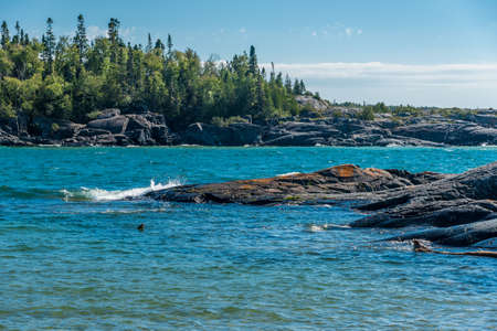 Rocky shore of Superior Lake, Canada
