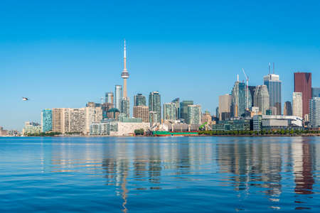 Toronto skyline from Ontario lake in sunny morning
