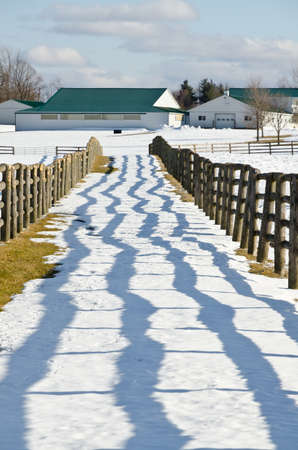 Farm fence and lines of shadows in winter time