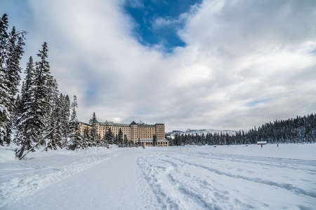 Chateau Lake Louise in Canadian Rocky mountains in winter, Alberta, Canada