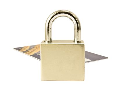 Padlock stay over plastic card on the white background