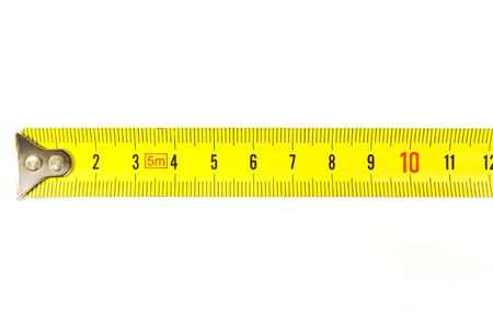measuring scale: Metal ruler on the white background