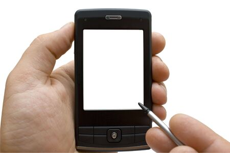 palmtop: Hand with PDA on the white background
