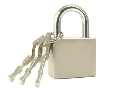 Isolated padlock stay on the white backgroung photo