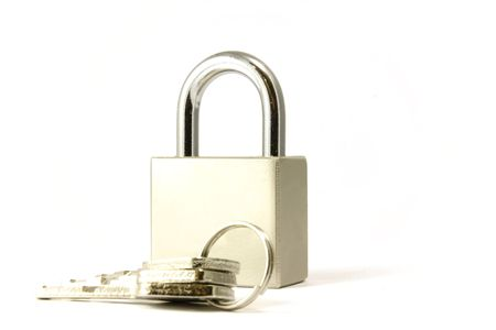 Isolated padlock stay on the white backgroung Stock Photo - 5577052