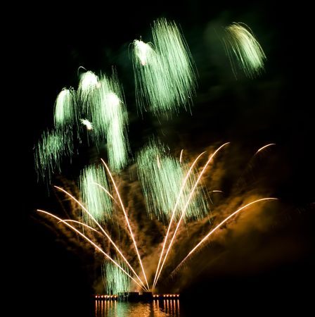 Colorful firework show finale with multiple bursts photo