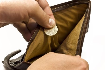 Empty purse with coin in hand on the white background