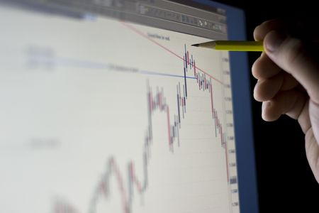 Financial analyze on the display close-up