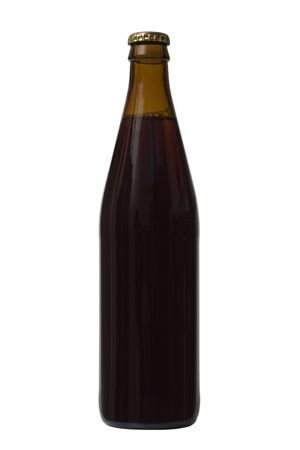 Isolated Brown beer bottle with cap and no labels photo